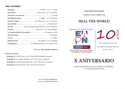 Programa concierto solidario 'Heal the World'
