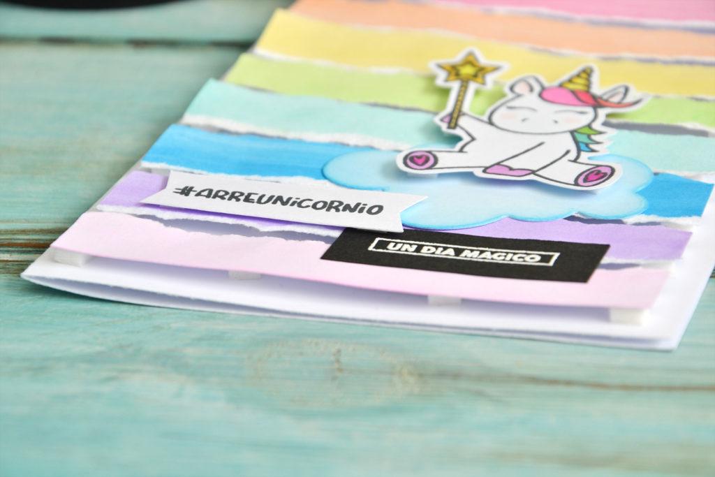Tarjeta unicornio, detalle texto