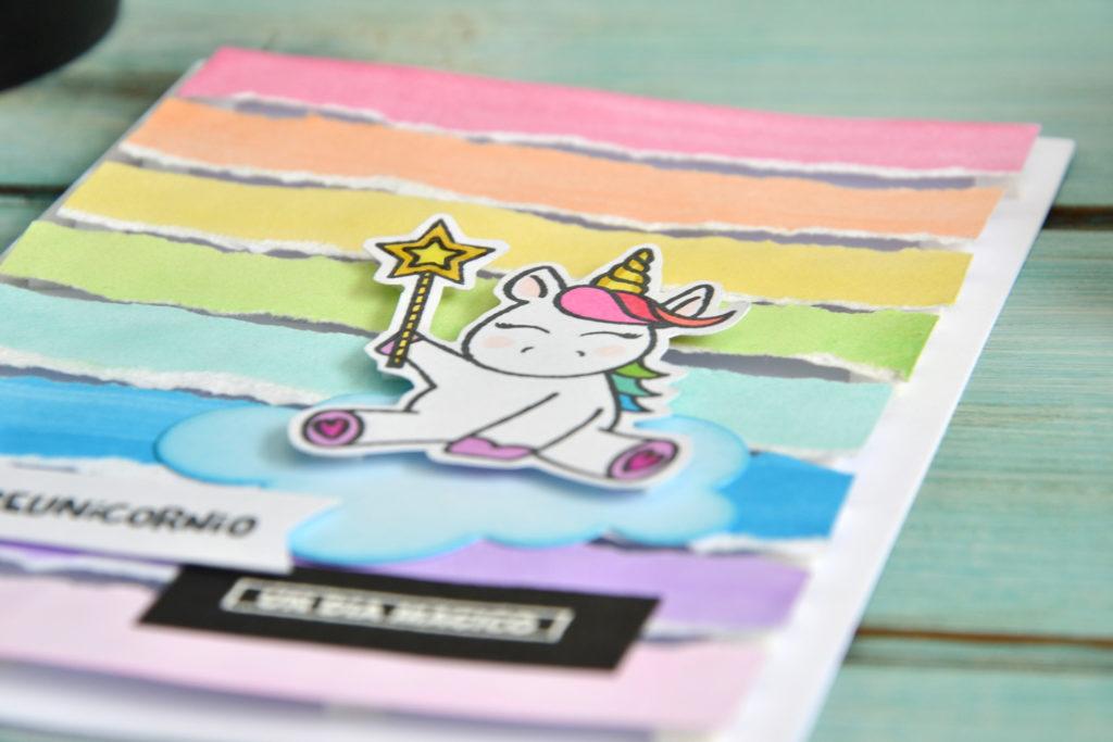 Tarjeta unicornio, detalle unicornio